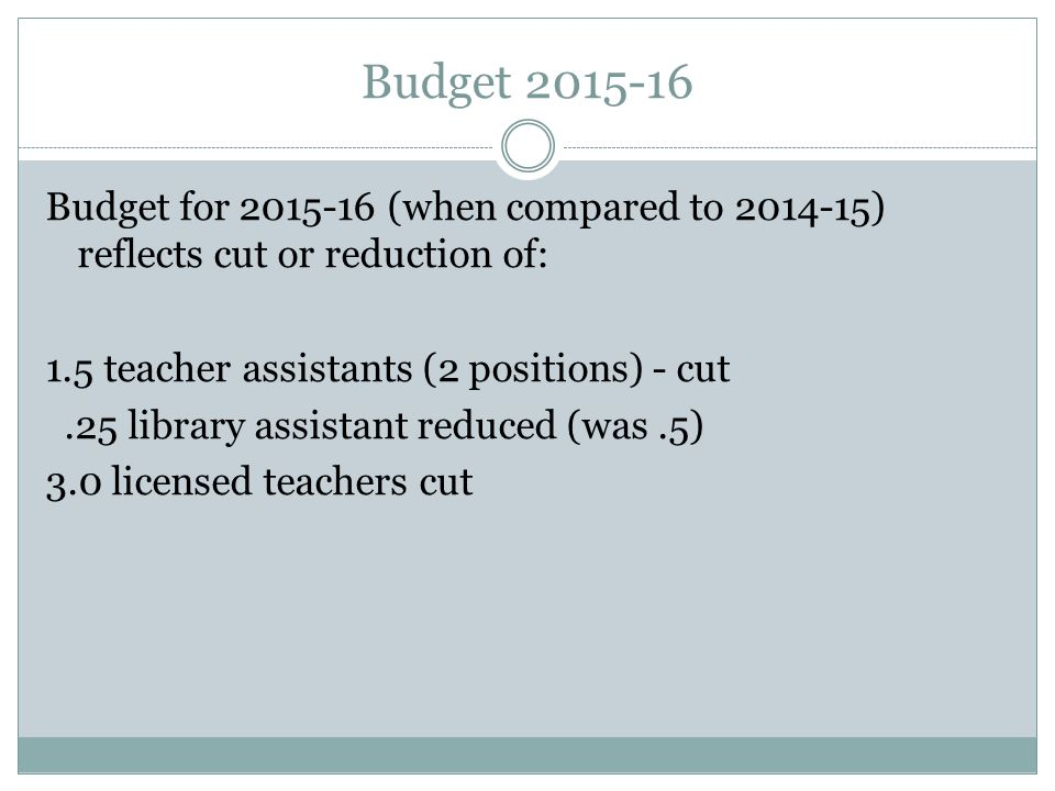Budget 2015-16 Budget for 2015-16 (when compared to 2014-15) reflects cut or reduction of: 1.5 teacher assistants (2 positions) - cut.25 library assistant reduced (was.5) 3.0 licensed teachers cut