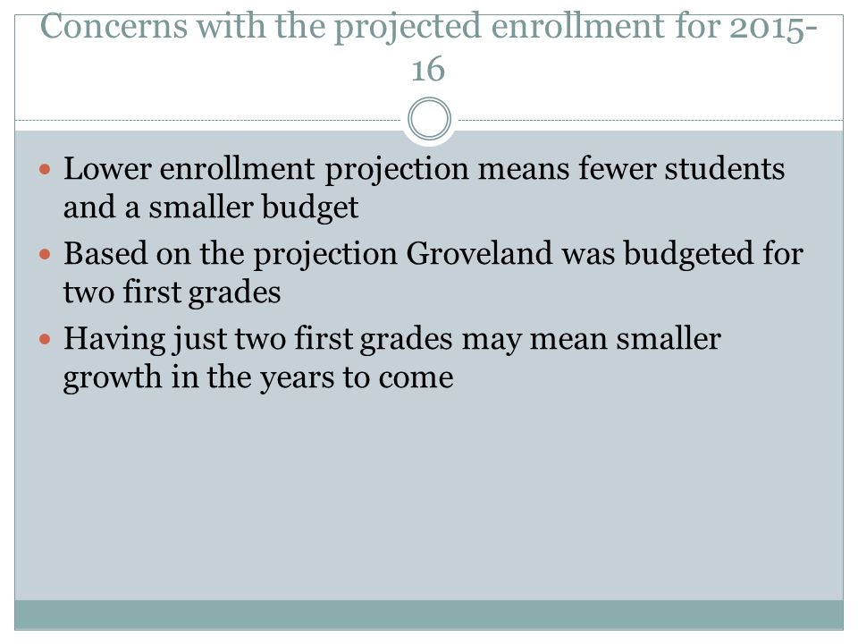 Concerns with the projected enrollment for 2015- 16 Lower enrollment projection means fewer students and a smaller budget Based on the projection Groveland was budgeted for two first grades Having just two first grades may mean smaller growth in the years to come
