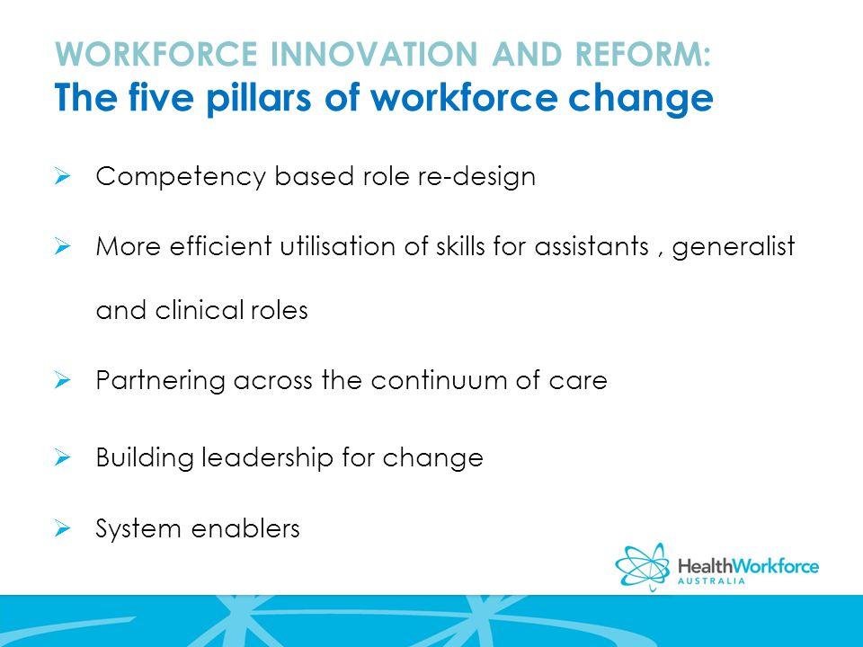 WORKFORCE INNOVATION AND REFORM: The five pillars of workforce change  Competency based role re-design  More efficient utilisation of skills for assistants, generalist and clinical roles  Partnering across the continuum of care  Building leadership for change  System enablers