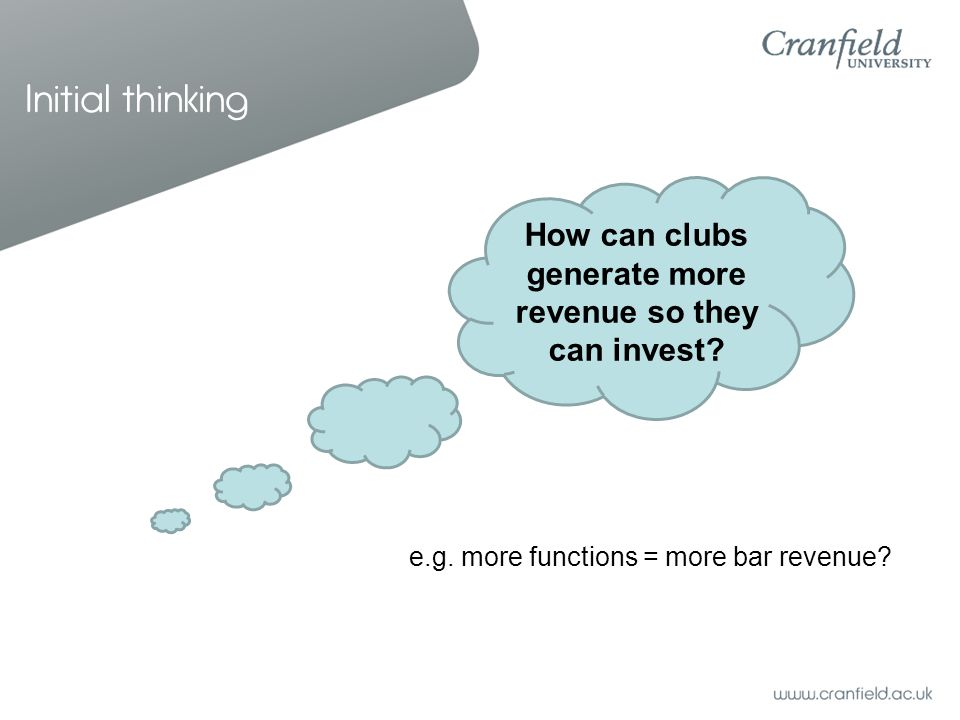 Initial thinking How can clubs generate more revenue so they can invest? e.g. more functions = more bar revenue?