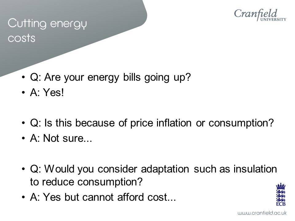 Cutting energy costs Q: Are your energy bills going up? A: Yes! Q: Is this because of price inflation or consumption? A: Not sure... Q: Would you cons