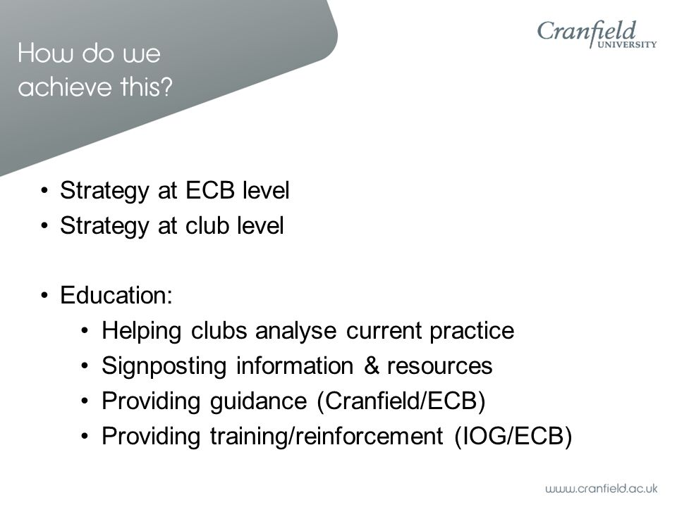 How do we achieve this? Strategy at ECB level Strategy at club level Education: Helping clubs analyse current practice Signposting information & resou