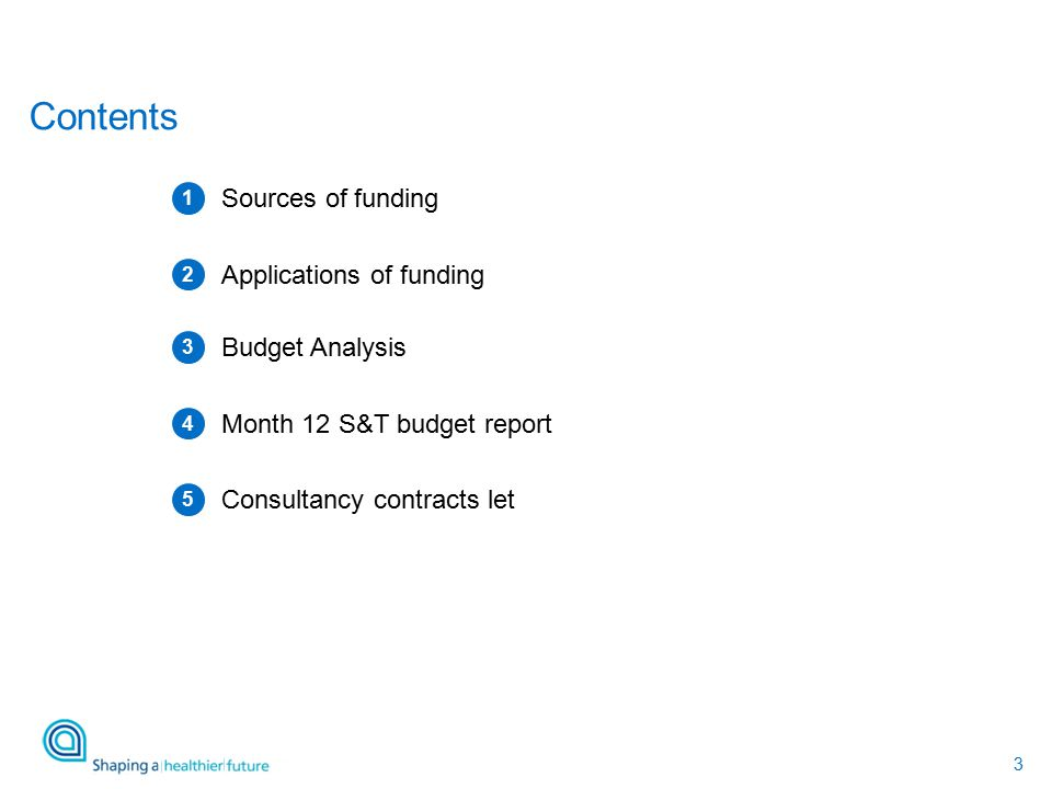 3 Contents Sources of funding Applications of funding Budget Analysis 1 2 3 Month 12 S&T budget report 4 Consultancy contracts let 5