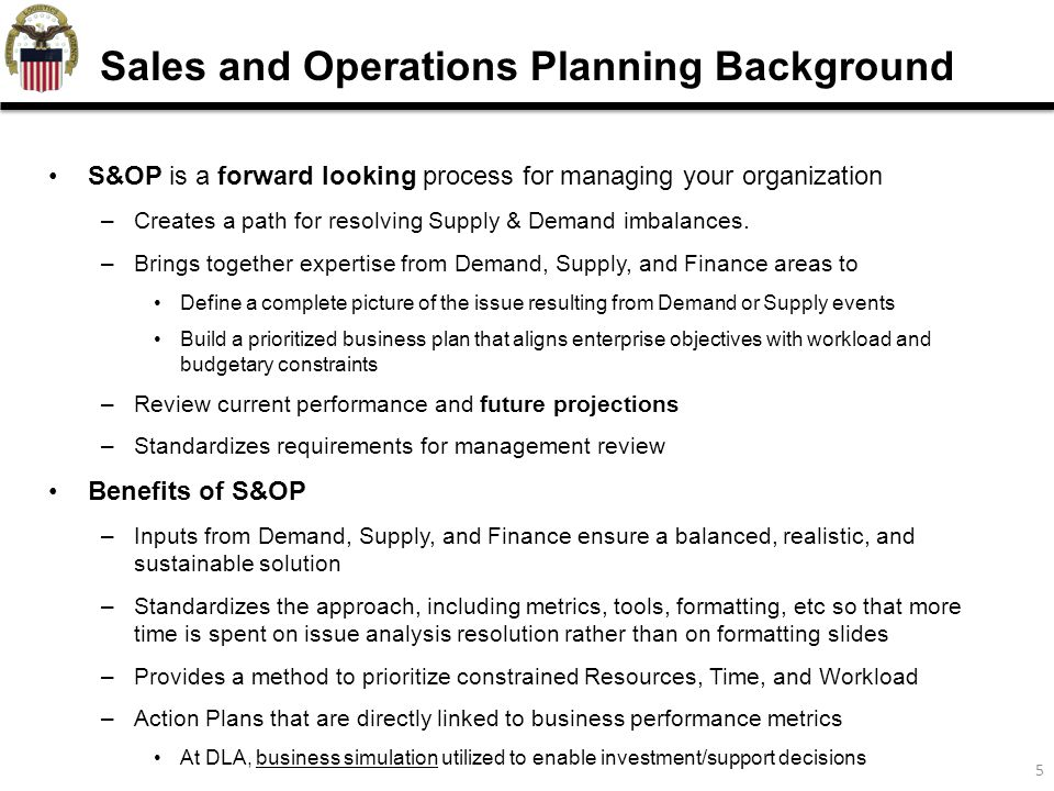 6 Business Planning: -forward looking metrics Collaboration: We review these business plans with Customers and Suppliers at –Customers: Validate and adjust forecasts Examples of customer collaboration: NAVAIR: F-18, F-402, AFGLSC: C-130, KC-135 –Suppliers: manufacturing capabilities are in place and prepared Examples of Supplier Collaboration: Honeywell, Boeing, and Lockheed Martin Simulation: Used to evaluate different scenarios and their impact on the business, including OA, inventory, and readiness Performance Management: Enterprise level metrics with drill down to the detailed item level – Percent Forecast Error, Perfect Order Fulfillment, Attainment to Plan Decision Making: inputs to drive decisions on funding allocation, and performance goals How we use S&OP at DLA