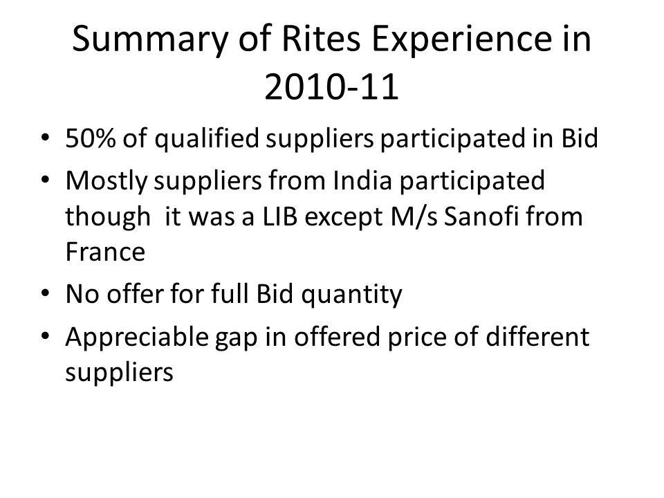Summary of Rites Experience in 2010-11 50% of qualified suppliers participated in Bid Mostly suppliers from India participated though it was a LIB except M/s Sanofi from France No offer for full Bid quantity Appreciable gap in offered price of different suppliers