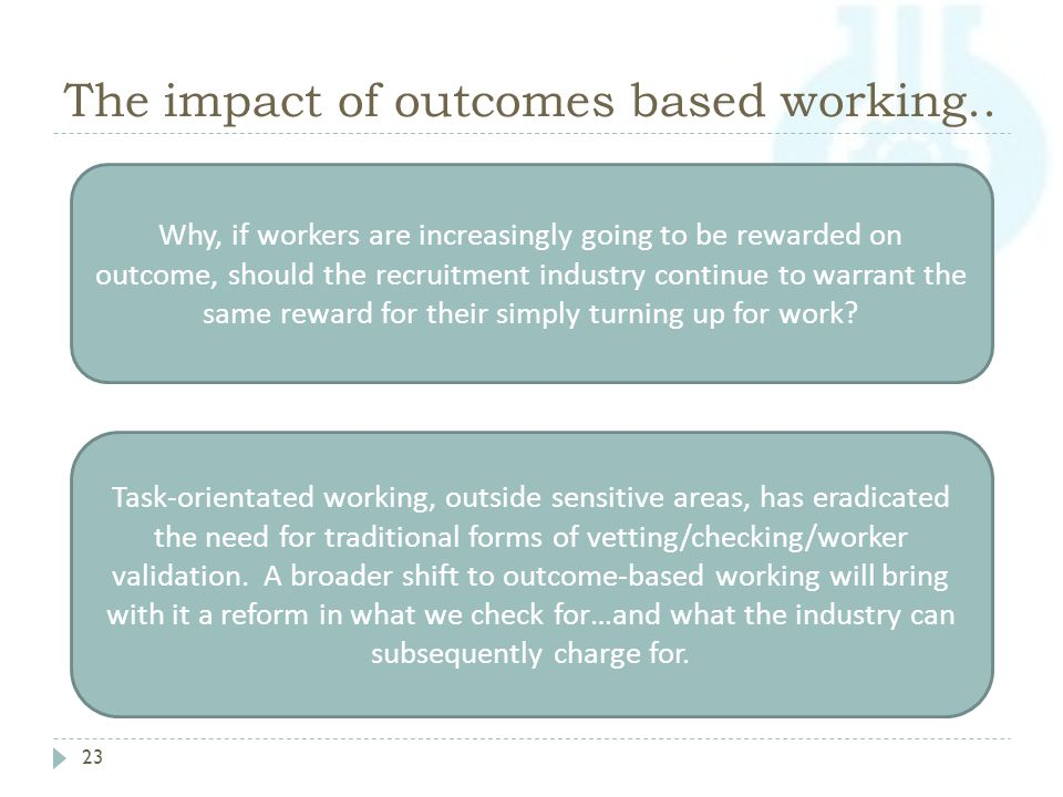 The impact of outcomes based working..