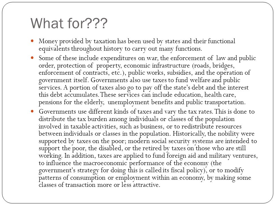 Structure of tax Tax Tax baseRate Preferences (deductions) Taxpayer
