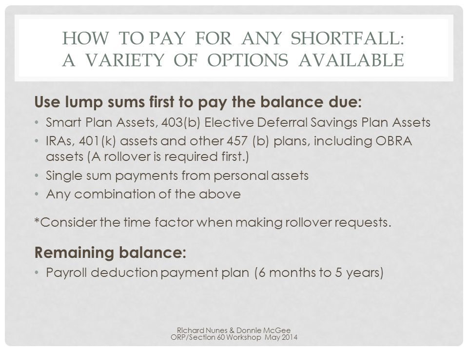 HOW TO PAY FOR ANY SHORTFALL: A VARIETY OF OPTIONS AVAILABLE Use lump sums first to pay the balance due: Smart Plan Assets, 403(b) Elective Deferral Savings Plan Assets IRAs, 401(k) assets and other 457 (b) plans, including OBRA assets (A rollover is required first.) Single sum payments from personal assets Any combination of the above *Consider the time factor when making rollover requests.