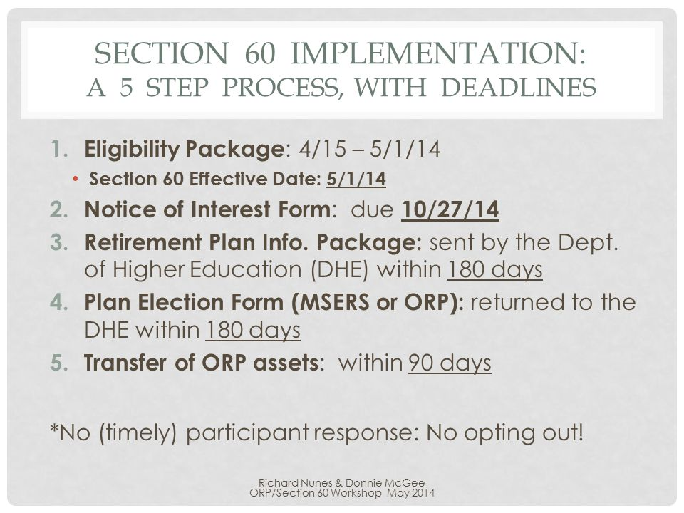 SECTION 60 IMPLEMENTATION: A 5 STEP PROCESS, WITH DEADLINES 1.