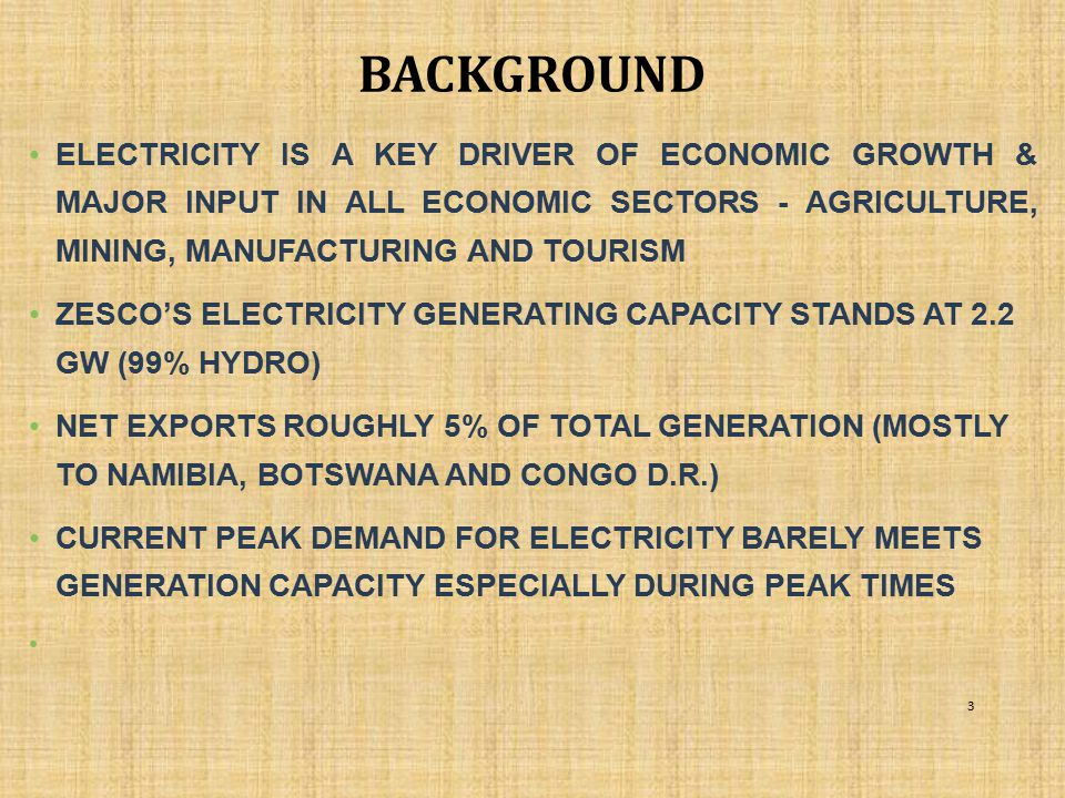 FUTURE TRANSMISSION PROJECTS ZIZABONA  THE OBJECTIVE IS TO INCREASE REGIONAL TRADE IN POWER BY INCREASING TRANSMISSION CAPACITY FOR NORTH TO SOUTH AND EAST TO WEST POWER TRADING  PROJECT PROMOTED BY ZIMBABWE, ZAMBIA, BOTSWANA AND NAMIBIA  COST: USD230MILLION  FUNDING: DISCUSSIONS ONGOING WITH POTENTIAL FINANCIERS.