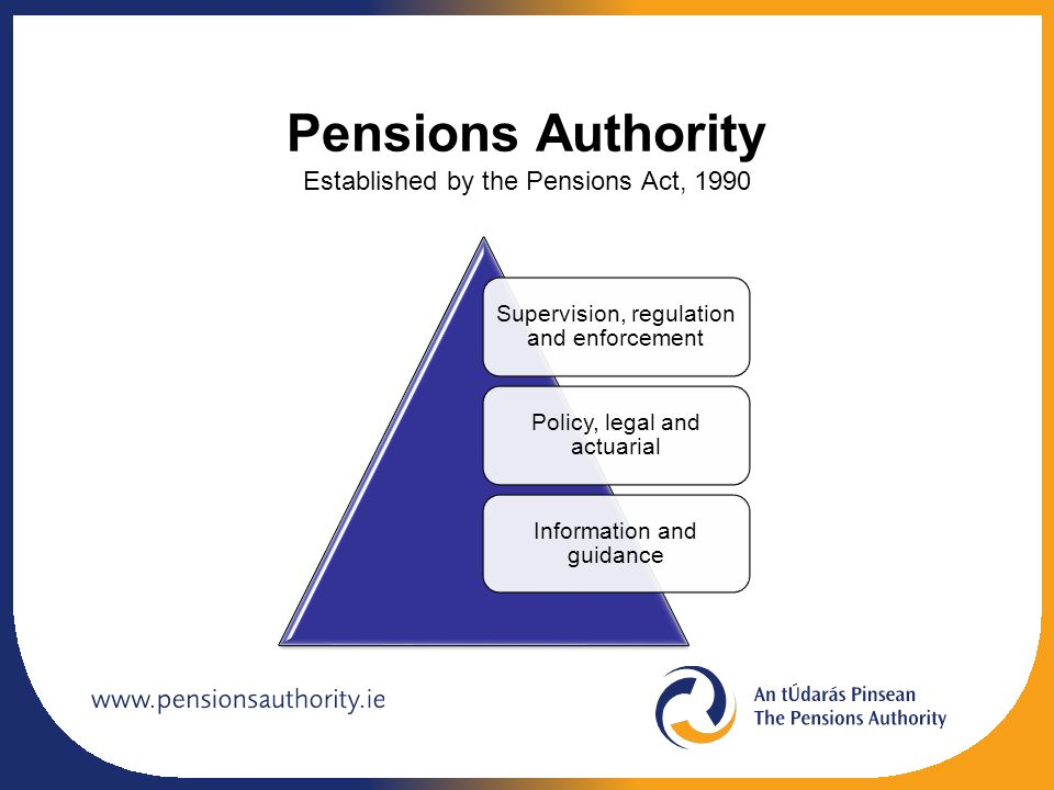 Pensions Authority Established by the Pensions Act, 1990 Supervision, regulation and enforcement Policy, legal and actuarial Information and guidance