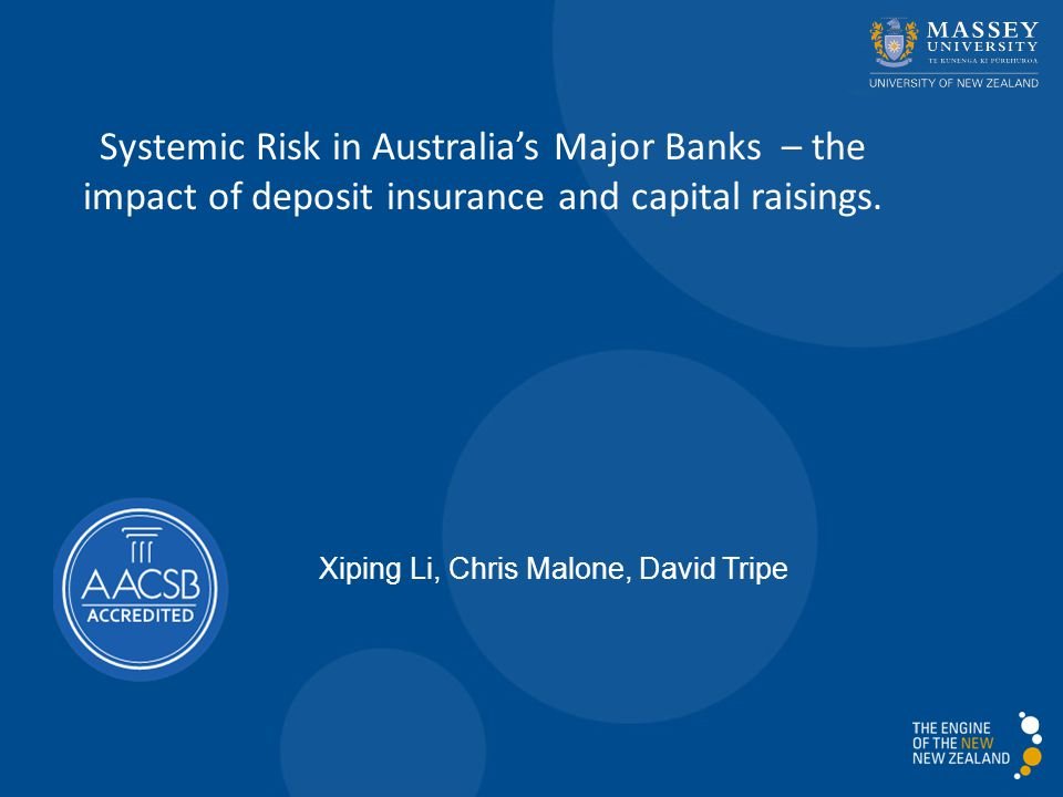Systemic Risk in Australia's Major Banks – the impact of deposit insurance and capital raisings.