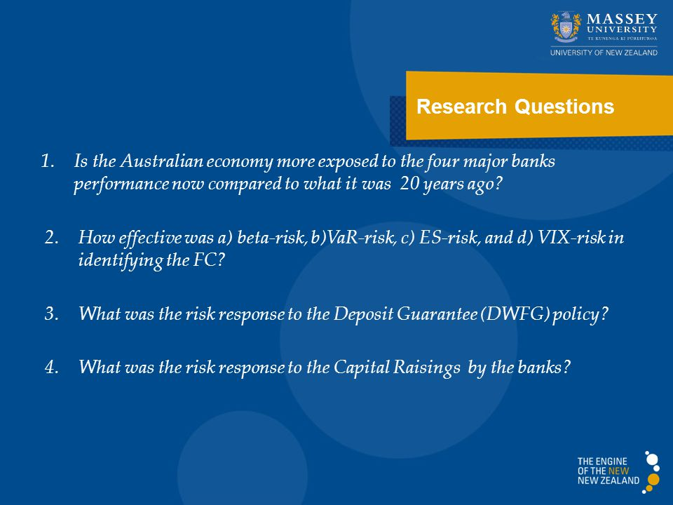 Research Questions 1.Is the Australian economy more exposed to the four major banks performance now compared to what it was 20 years ago.