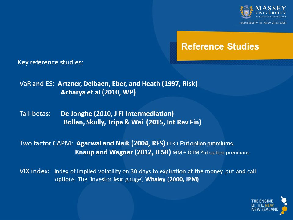 Reference Studies Key reference studies: VaR and ES: Artzner, Delbaen, Eber, and Heath (1997, Risk) Acharya et al (2010, WP) Tail-betas:De Jonghe (2010, J Fi Intermediation) Bollen, Skully, Tripe & Wei (2015, Int Rev Fin) Two factor CAPM: Agarwal and Naik (2004, RFS) FF3 + Put option premiums, Knaup and Wagner (2012, JFSR) MM + OTM Put option premiums VIX index: Index of implied volatility on 30-days to expiration at-the-money put and call options.
