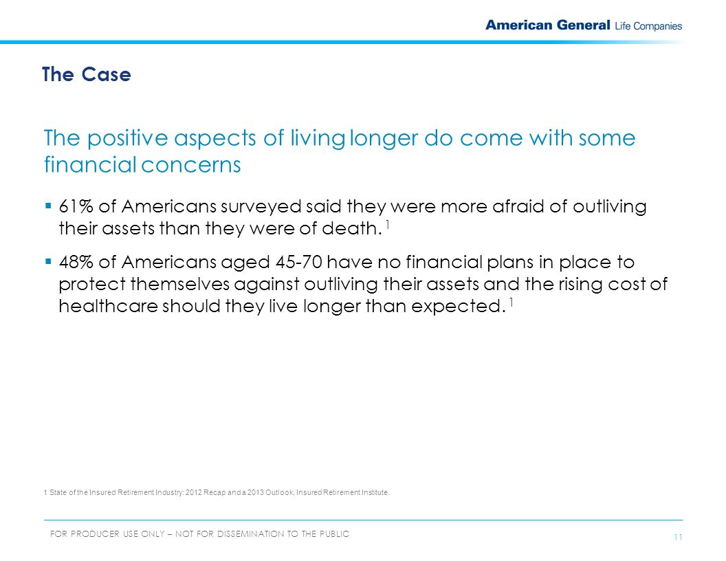 12 FOR PRODUCER USE ONLY – NOT FOR DISSEMINATION TO THE PUBLIC  Credit card debt  Historically low interest rates  Poor performing 401(k)s  Changes in health insurance Concern Think about what may contribute to the possibility of outliving your retirement income.