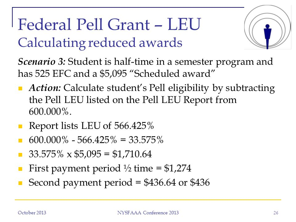 Federal Pell Grant – LEU Calculating reduced awards Scenario 3: Student is half-time in a semester program and has 525 EFC and a $5,095 Scheduled award Action: Calculate student's Pell eligibility by subtracting the Pell LEU listed on the Pell LEU Report from 600.000%.