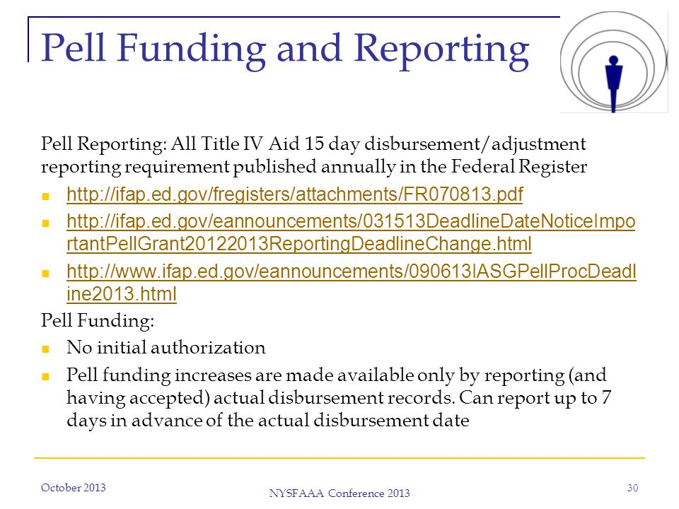 October 2013 NYSFAAA Conference 2013 30 Pell Funding and Reporting Pell Reporting: All Title IV Aid 15 day disbursement/adjustment reporting requirement published annually in the Federal Register http://ifap.ed.gov/fregisters/attachments/FR070813.pdf http://ifap.ed.gov/eannouncements/031513DeadlineDateNoticeImpo rtantPellGrant20122013ReportingDeadlineChange.html http://ifap.ed.gov/eannouncements/031513DeadlineDateNoticeImpo rtantPellGrant20122013ReportingDeadlineChange.html http://www.ifap.ed.gov/eannouncements/090613IASGPellProcDeadl ine2013.html http://www.ifap.ed.gov/eannouncements/090613IASGPellProcDeadl ine2013.html Pell Funding: No initial authorization Pell funding increases are made available only by reporting (and having accepted) actual disbursement records.