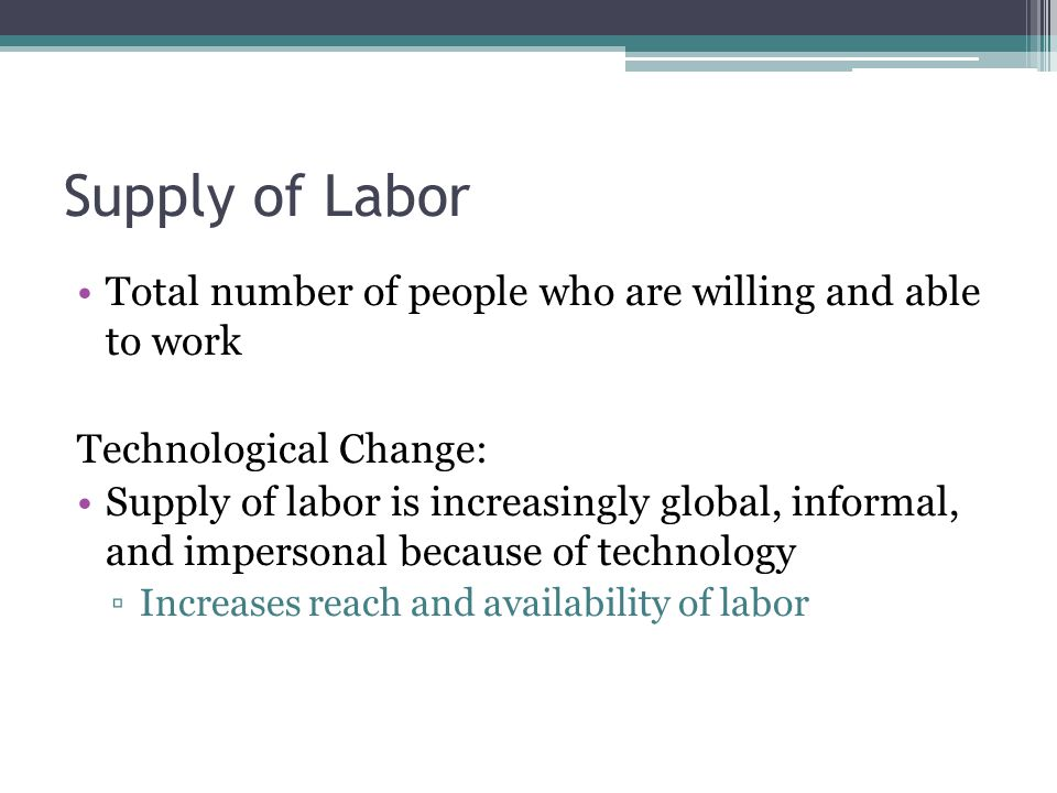 Supply of Labor Total number of people who are willing and able to work Technological Change: Supply of labor is increasingly global, informal, and im