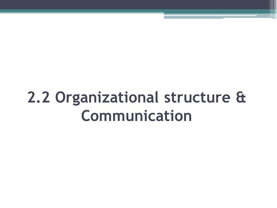 2.2 Organizational structure & Communication