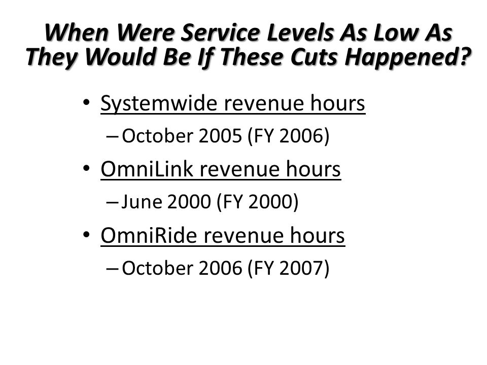 When Were Service Levels As Low As They Would Be If These Cuts Happened.