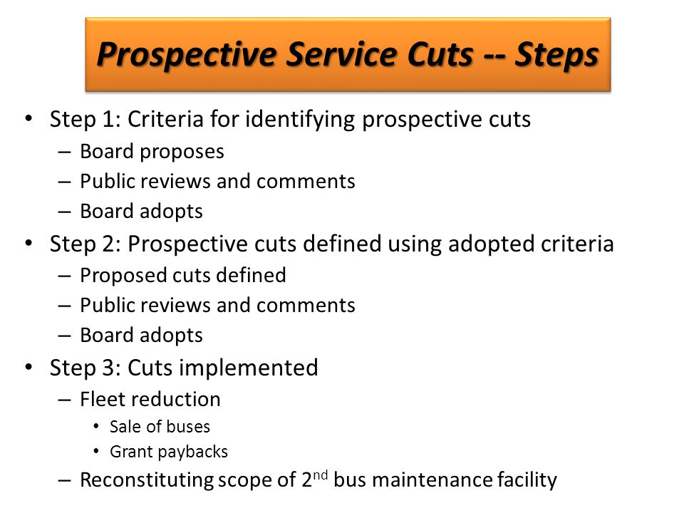 Prospective Service Cuts -- Steps Step 1: Criteria for identifying prospective cuts – Board proposes – Public reviews and comments – Board adopts Step 2: Prospective cuts defined using adopted criteria – Proposed cuts defined – Public reviews and comments – Board adopts Step 3: Cuts implemented – Fleet reduction Sale of buses Grant paybacks – Reconstituting scope of 2 nd bus maintenance facility