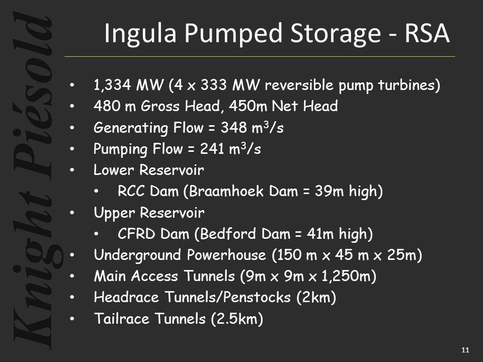 11 1,334 MW (4 x 333 MW reversible pump turbines) 480 m Gross Head, 450m Net Head Generating Flow = 348 m 3 /s Pumping Flow = 241 m 3 /s Lower Reservoir RCC Dam (Braamhoek Dam = 39m high) Upper Reservoir CFRD Dam (Bedford Dam = 41m high) Underground Powerhouse (150 m x 45 m x 25m) Main Access Tunnels (9m x 9m x 1,250m) Headrace Tunnels/Penstocks (2km) Tailrace Tunnels (2.5km) Ingula Pumped Storage - RSA