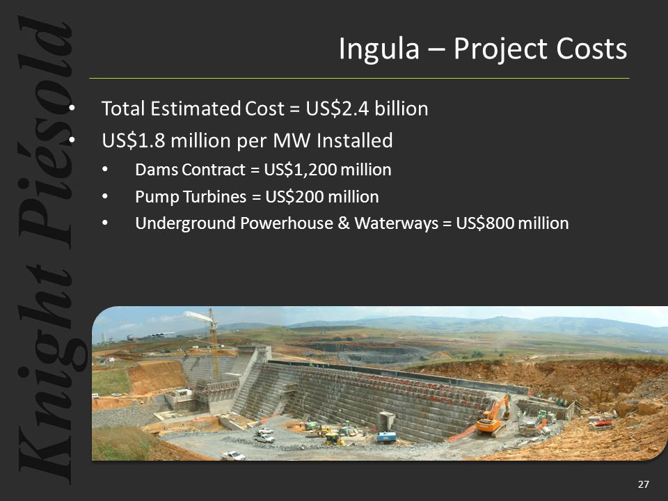 27 Total Estimated Cost = US$2.4 billion US$1.8 million per MW Installed Dams Contract = US$1,200 million Pump Turbines = US$200 million Underground P