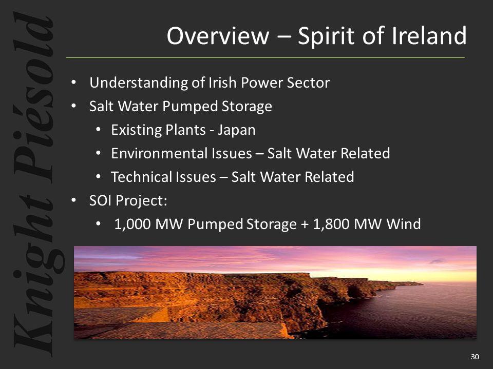30 Overview – Spirit of Ireland Understanding of Irish Power Sector Salt Water Pumped Storage Existing Plants - Japan Environmental Issues – Salt Water Related Technical Issues – Salt Water Related SOI Project: 1,000 MW Pumped Storage + 1,800 MW Wind