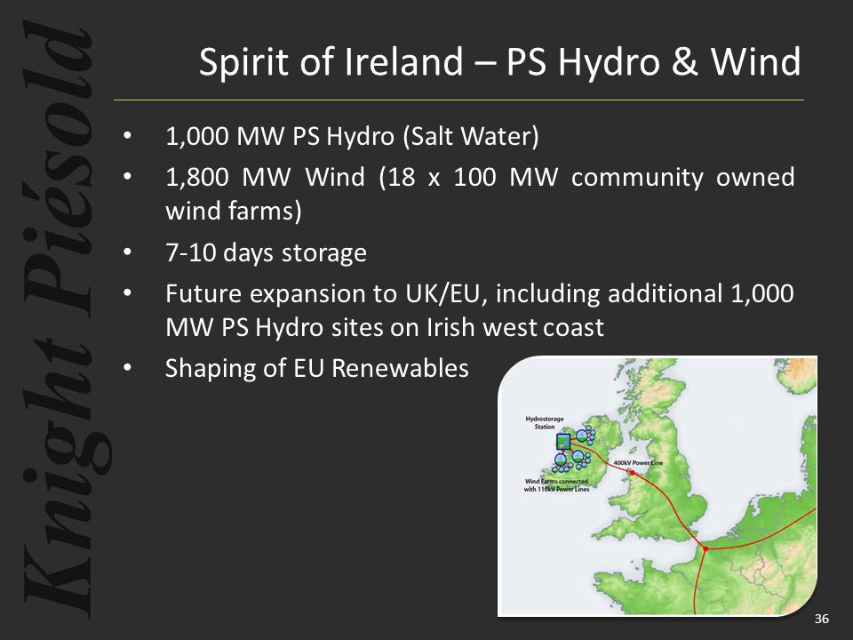36 1,000 MW PS Hydro (Salt Water) 1,800 MW Wind (18 x 100 MW community owned wind farms) 7-10 days storage Future expansion to UK/EU, including additi