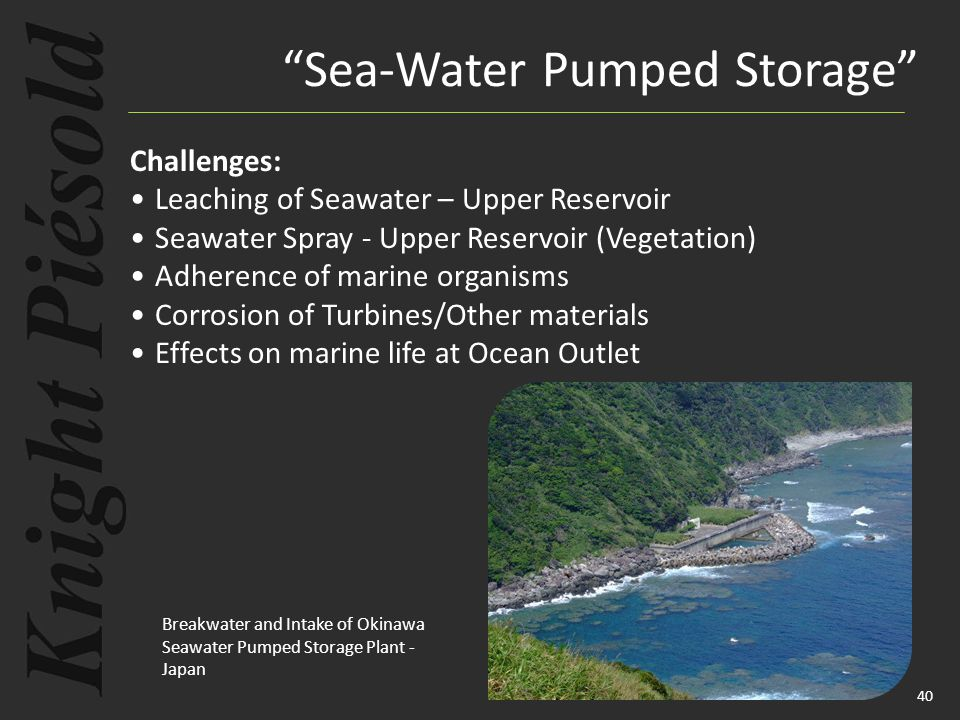 40 Challenges: Leaching of Seawater – Upper Reservoir Seawater Spray - Upper Reservoir (Vegetation) Adherence of marine organisms Corrosion of Turbine