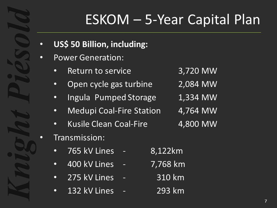 ESKOM – 5-Year Capital Plan US$ 50 Billion, including: Power Generation: Return to service3,720 MW Open cycle gas turbine2,084 MW Ingula Pumped Storag