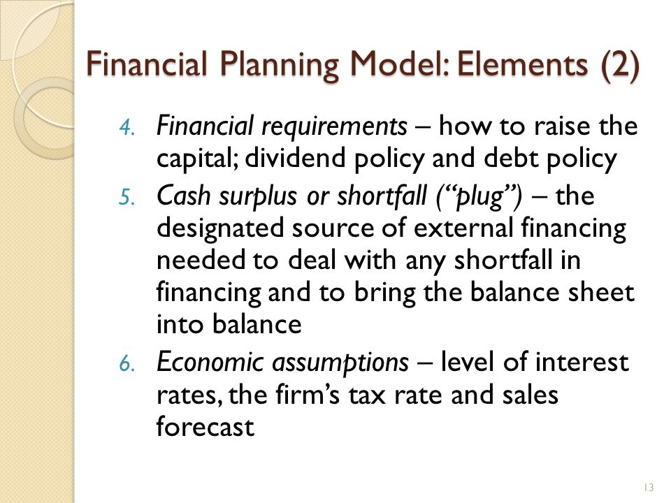 Financial Planning Model: Elements (2) 4.