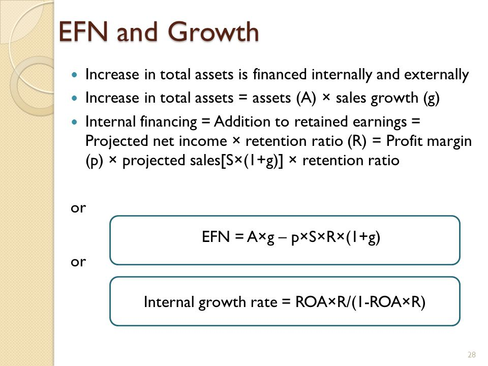 EFN and Growth Increase in total assets is financed internally and externally Increase in total assets = assets (A) × sales growth (g) Internal financing = Addition to retained earnings = Projected net income × retention ratio (R) = Profit margin (p) × projected sales[S×(1+g)] × retention ratio or EFN = A×g – p×S×R×(1+g) Internal growth rate = ROA×R/(1-ROA×R) 28