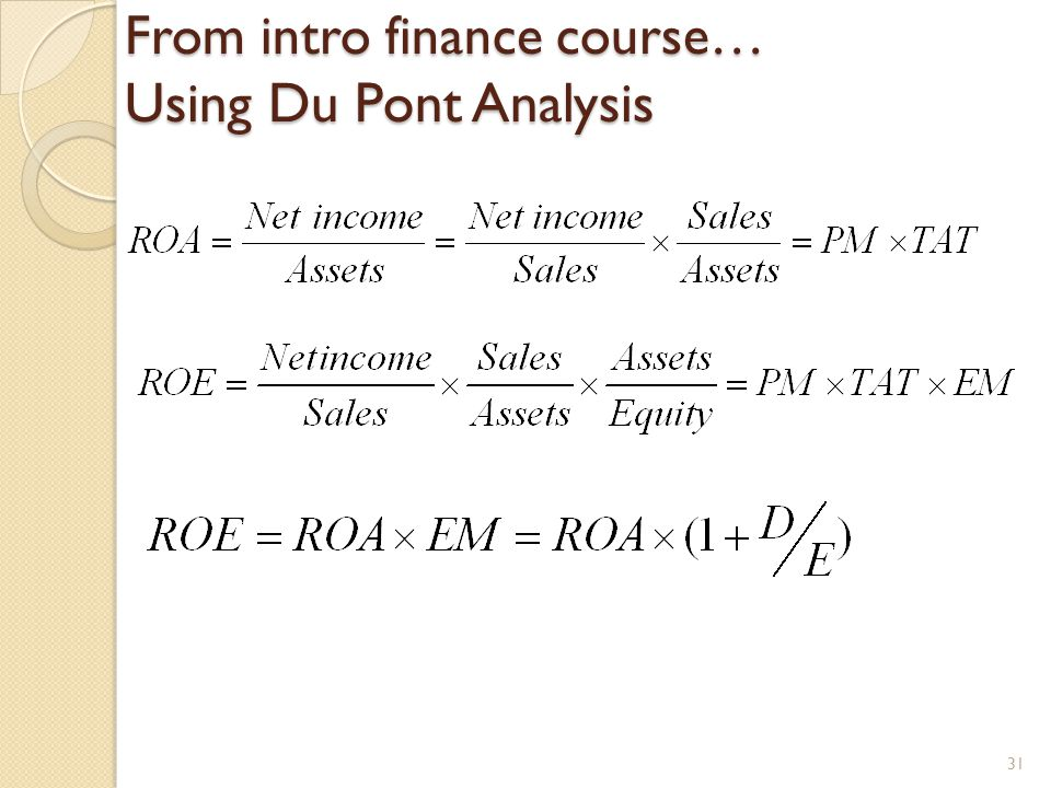 From intro finance course… Using Du Pont Analysis 31
