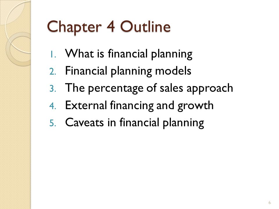 Chapter 4 Outline 1. What is financial planning 2.
