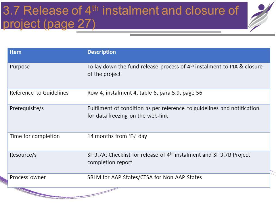3.7 Release of 4 th instalment and closure of project (page 27) ItemDescription PurposeTo lay down the fund release process of 4 th instalment to PIA