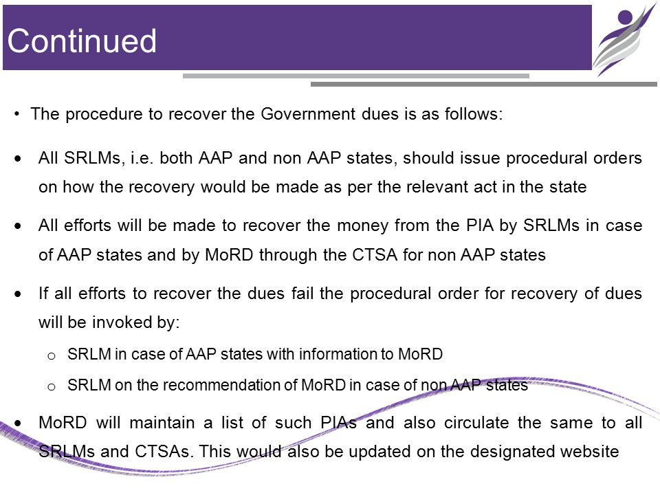 Continued The procedure to recover the Government dues is as follows:  All SRLMs, i.e. both AAP and non AAP states, should issue procedural orders on