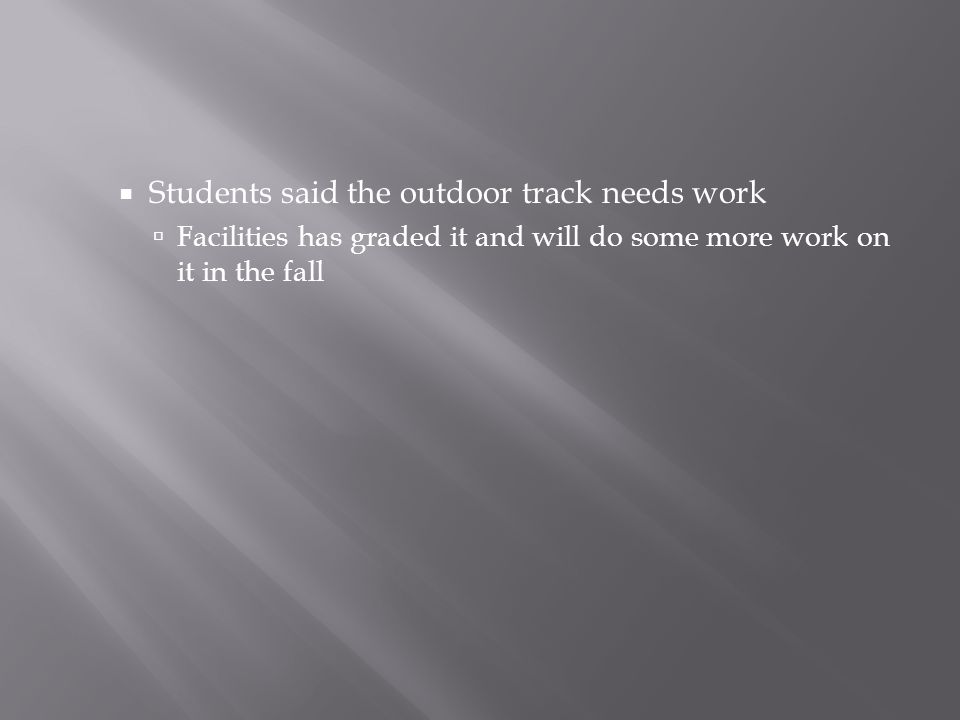  Students said the outdoor track needs work  Facilities has graded it and will do some more work on it in the fall
