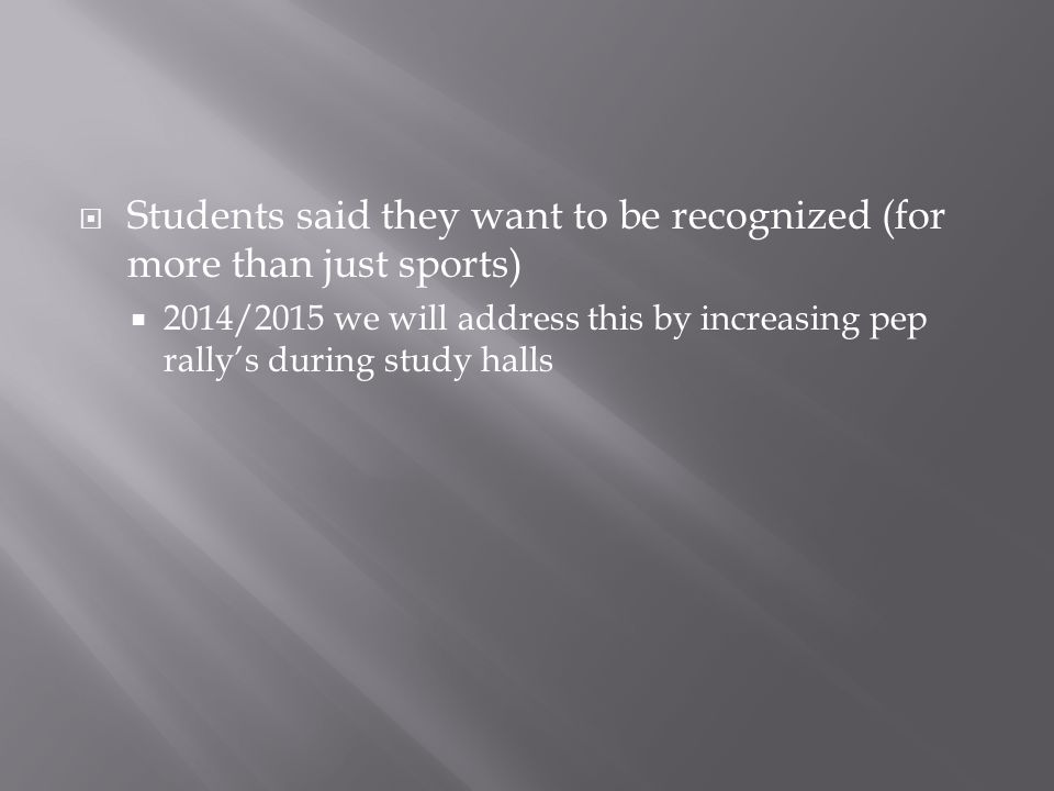  Students said they want to be recognized (for more than just sports)  2014/2015 we will address this by increasing pep rally's during study halls