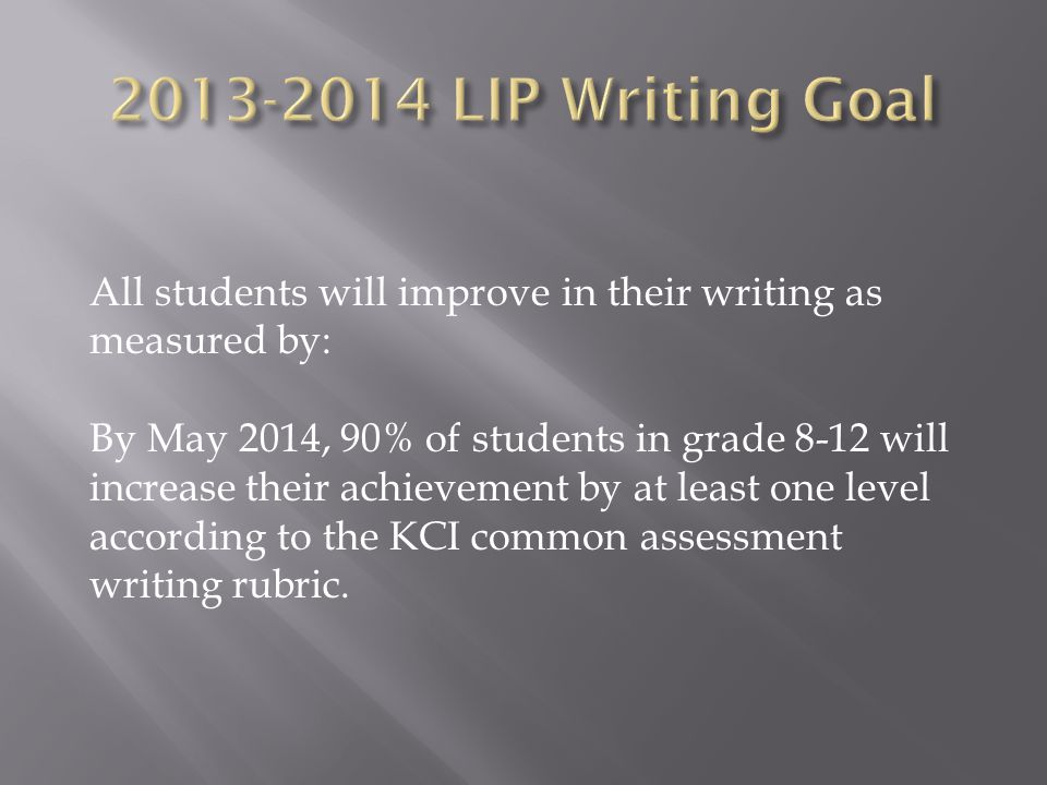 All students will improve in their writing as measured by: By May 2014, 90% of students in grade 8-12 will increase their achievement by at least one level according to the KCI common assessment writing rubric.