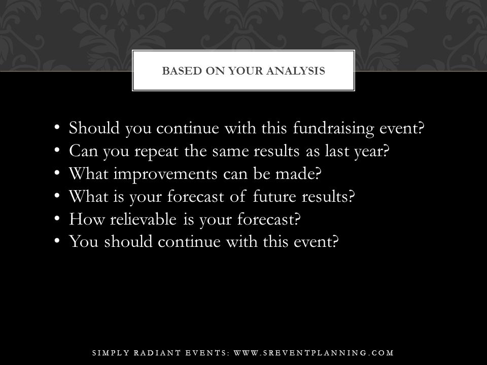 BASED ON YOUR ANALYSIS SIMPLY RADIANT EVENTS: WWW.SREVENTPLANNING.COM Should you continue with this fundraising event.