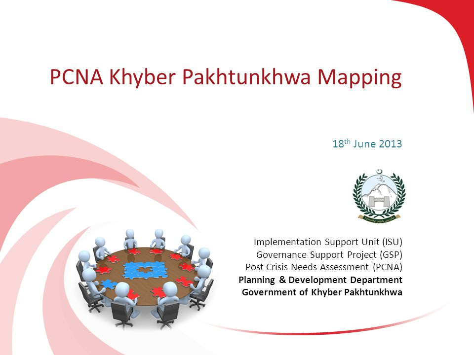 PCNA – GSP ISU, Khyber Pakhtunkhwa 2 Objective of Mapping Exercise To identify and analyze all interventions in order to align, synergize and mobilize efforts for the effective implementation of the PCNA recommendations