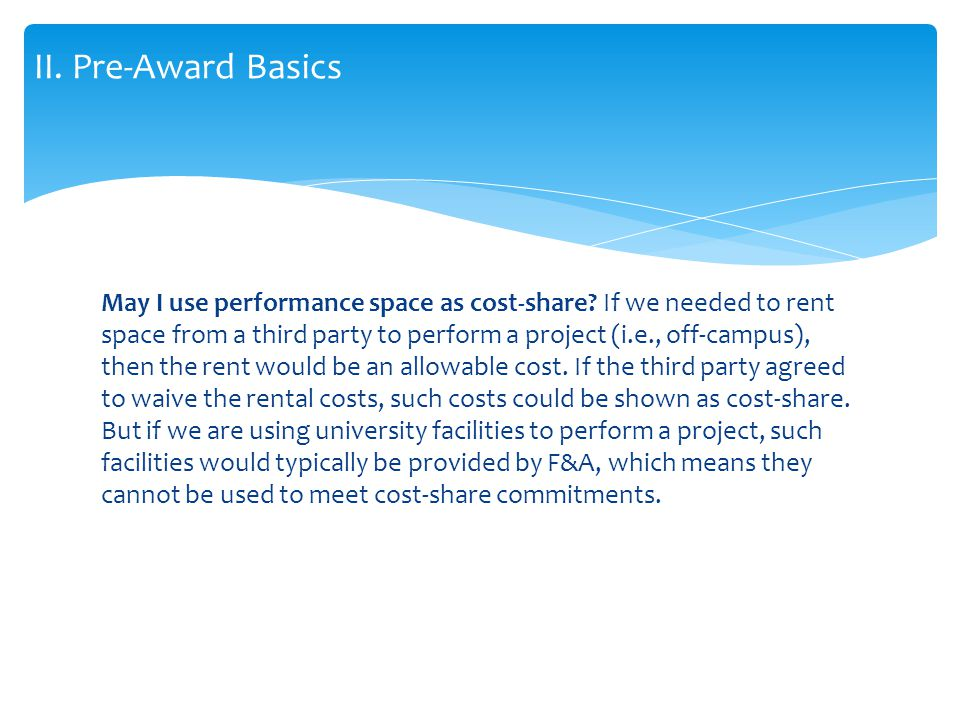 May I use performance space as cost-share.