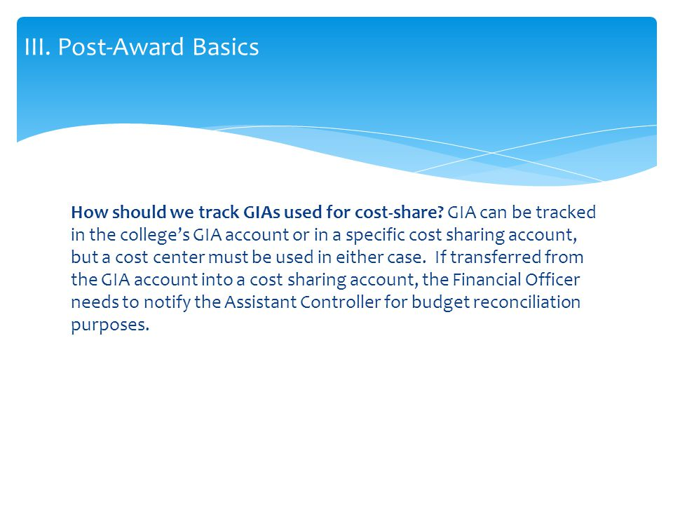 How should we track GIAs used for cost-share.
