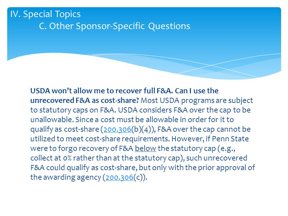 USDA won't allow me to recover full F&A. Can I use the unrecovered F&A as cost-share.