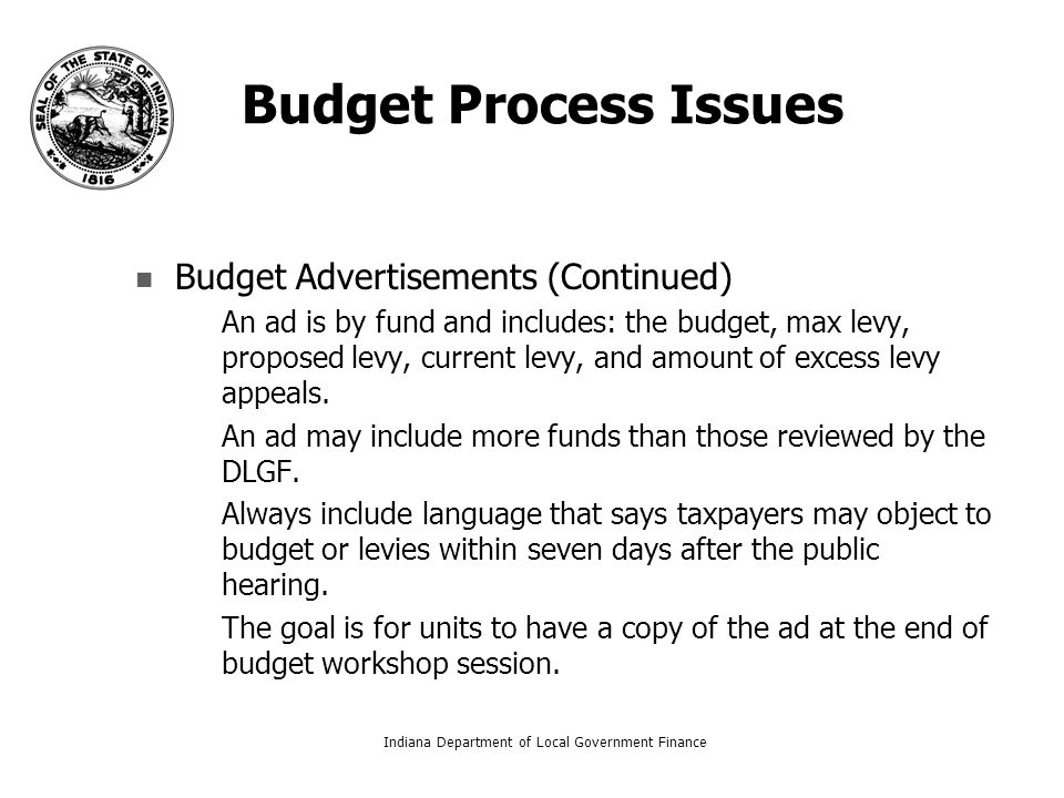 Budget Process Issues Budget Advertisements (Continued) – –An ad is by fund and includes: the budget, max levy, proposed levy, current levy, and amount of excess levy appeals.
