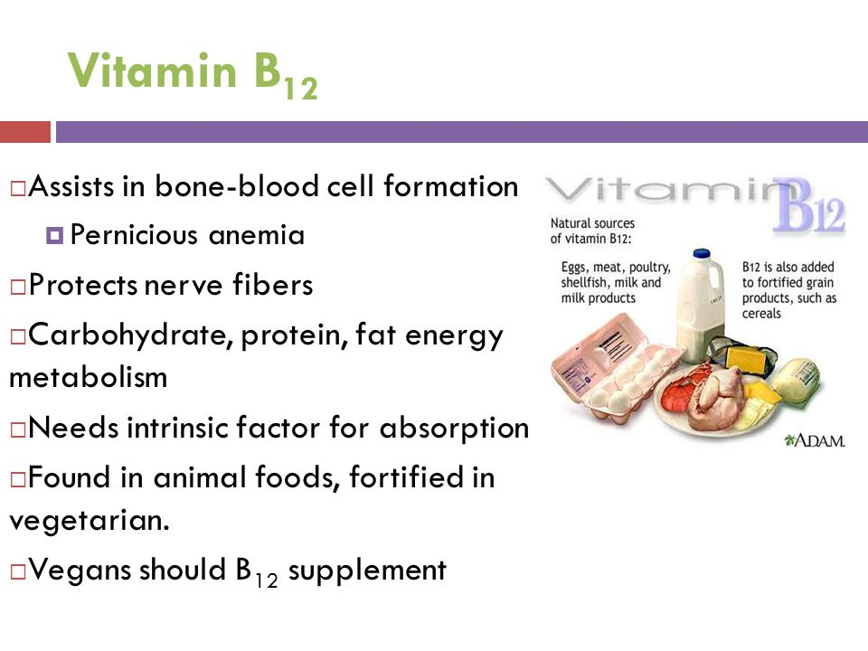 Vitamin B 12  Assists in bone-blood cell formation  Pernicious anemia  Protects nerve fibers  Carbohydrate, protein, fat energy metabolism  Needs