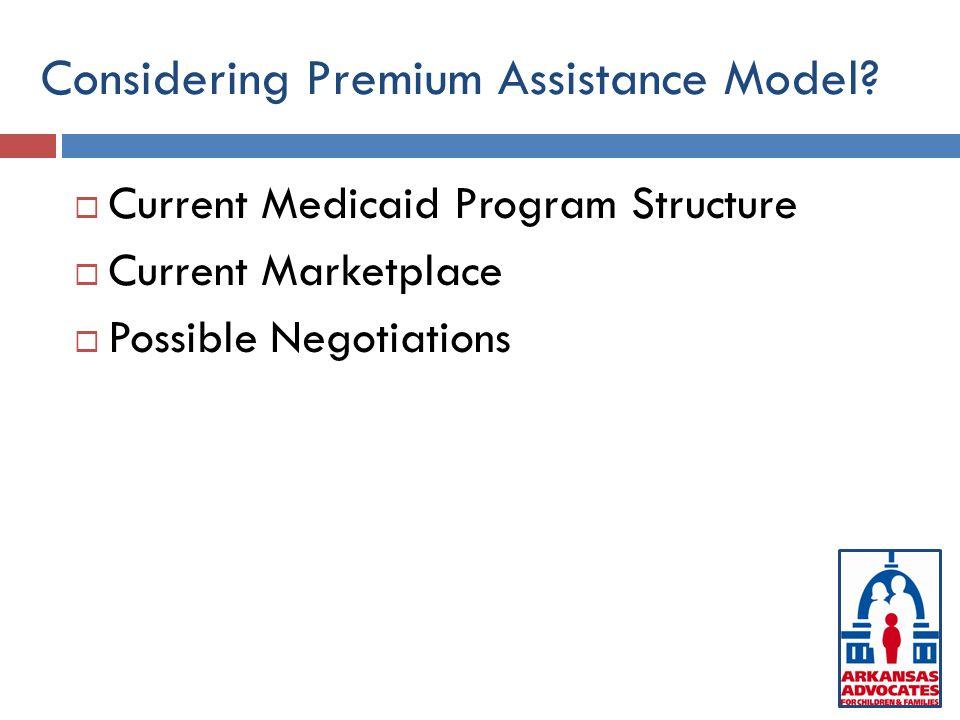 Considering Premium Assistance Model.