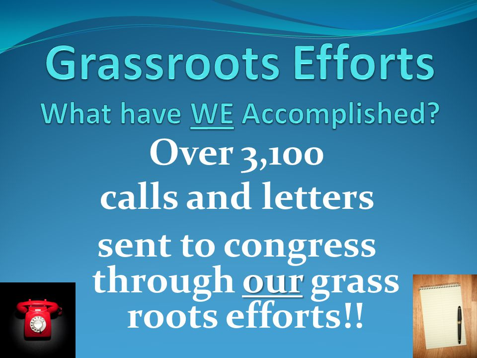 Over 3,100 calls and letters our sent to congress through our grass roots efforts!!