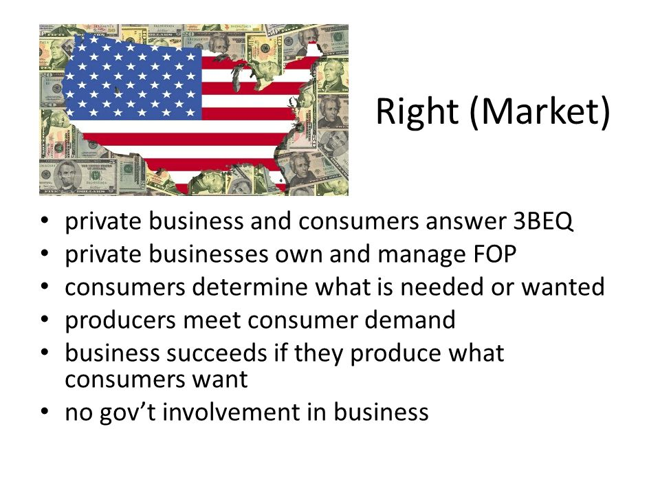Right (Market) private business and consumers answer 3BEQ private businesses own and manage FOP consumers determine what is needed or wanted producers